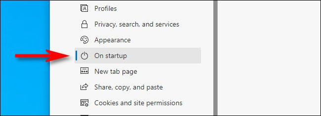 """In the Edge Settings sidebar, select """"On startup."""""""