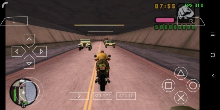 GTA Vice City Stories on the Redmi 5 via the PPSSPP emulator.