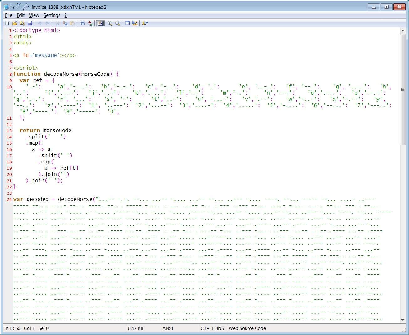 Source code HTML phishing attachment