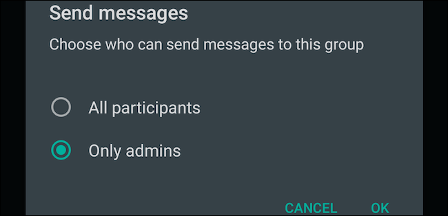 Select Only Admins setting for WhatsApp group messages