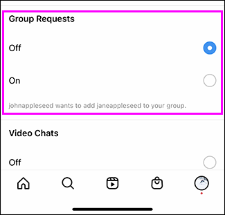 """Tap """"Off"""" under Group Requests."""