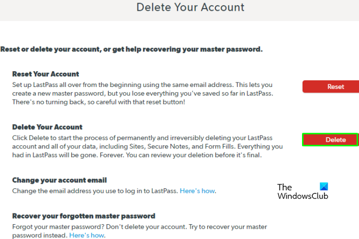 How to Delete LastPass account delete page