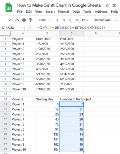 How to Make Gantt Chart in Google Sheets Step 6