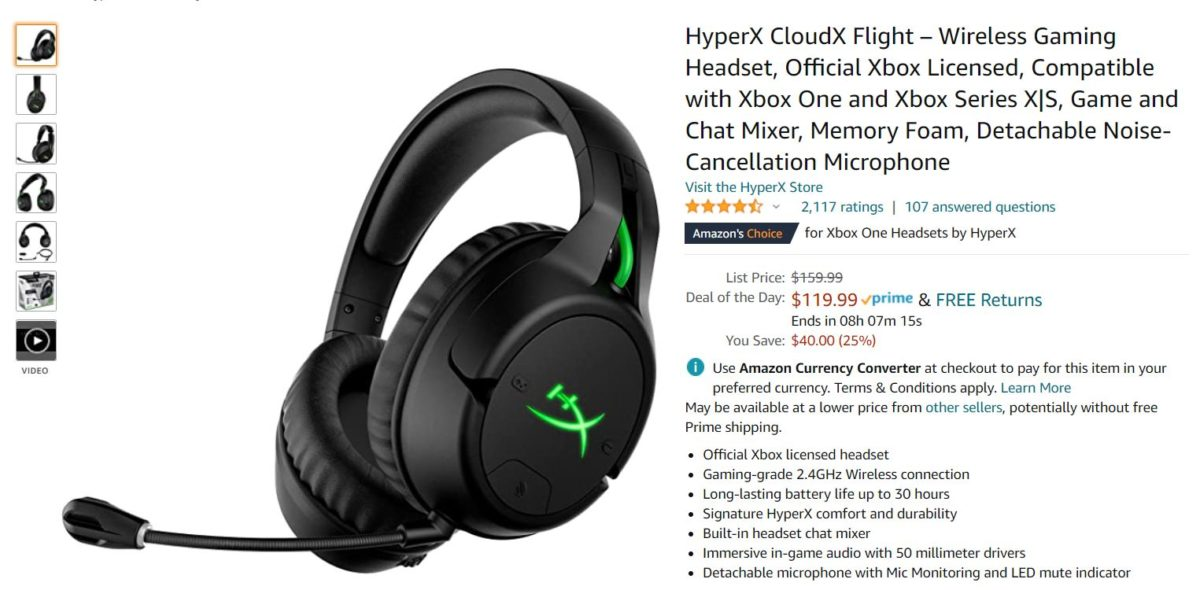 HyperX Cloud Flight Wireless Gaming Headset Amazon Deal