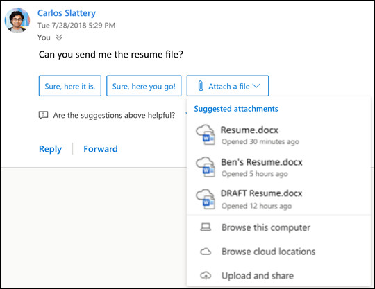 Suggested replies in Outlook for Windows