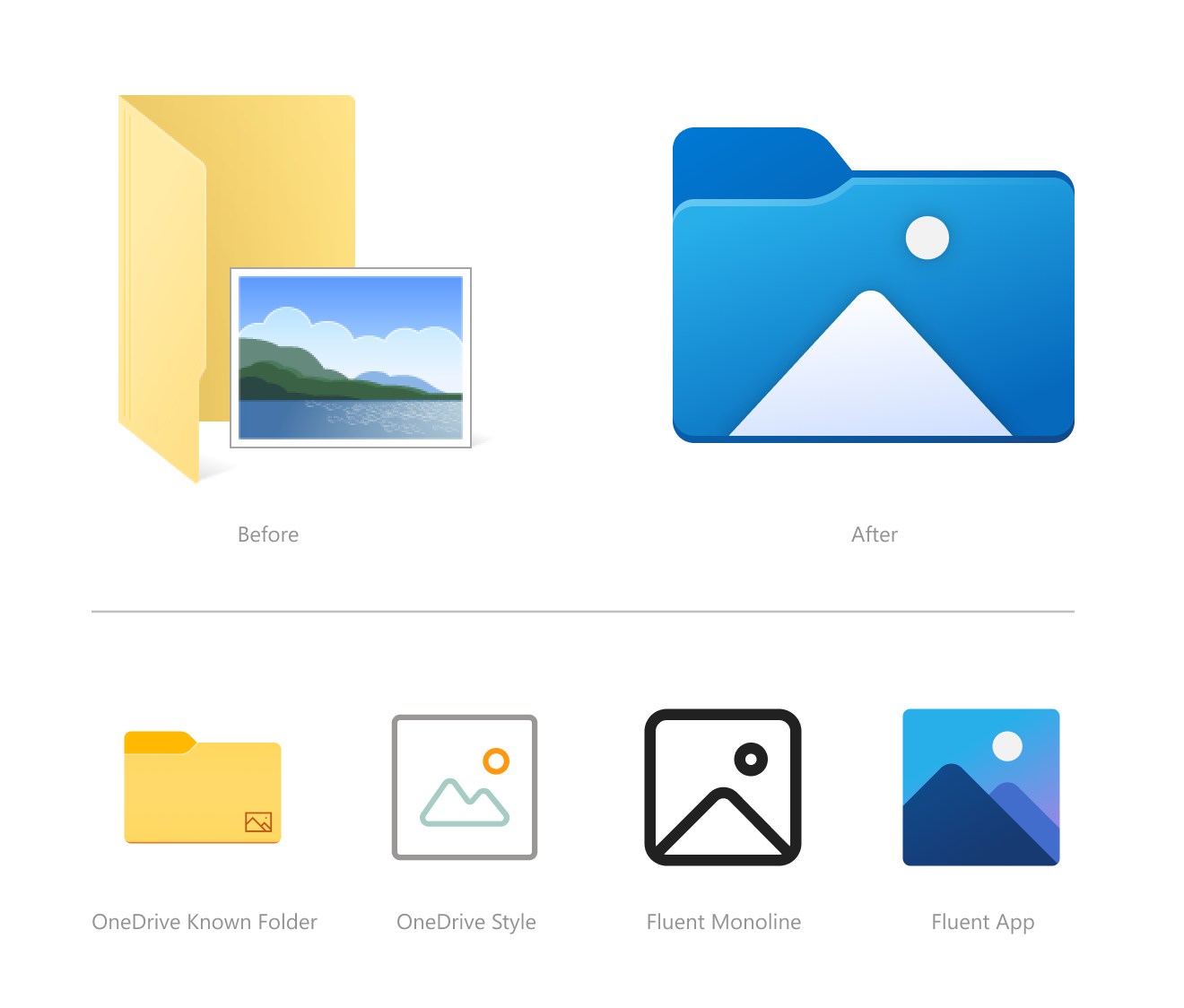 Before and after of Photos folder icons.
