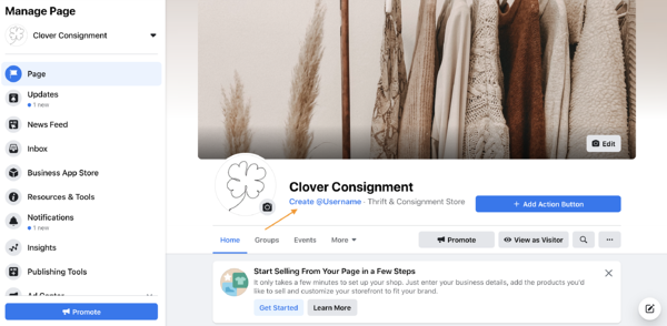 facebook business page username