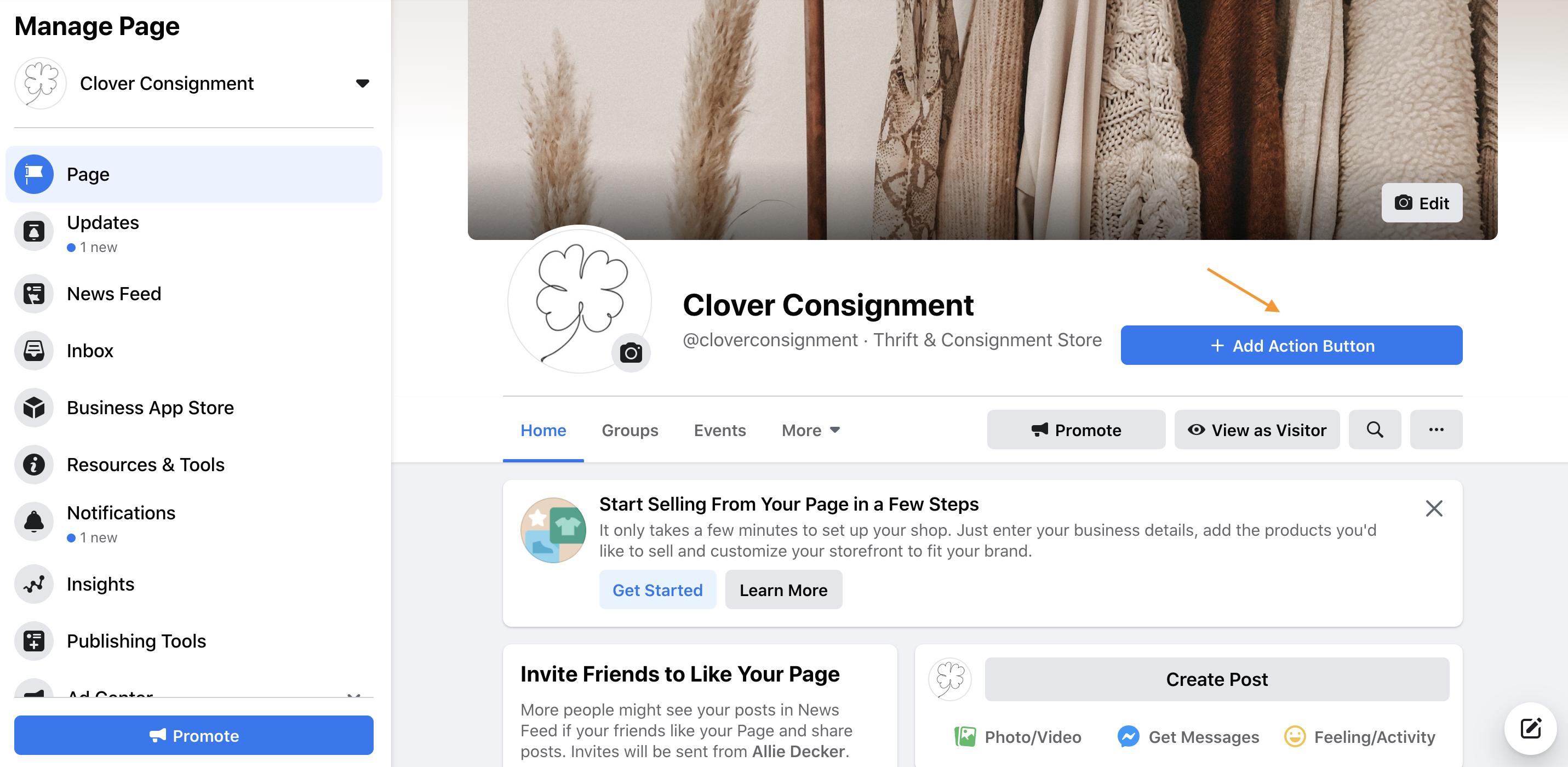 facebook business page cta
