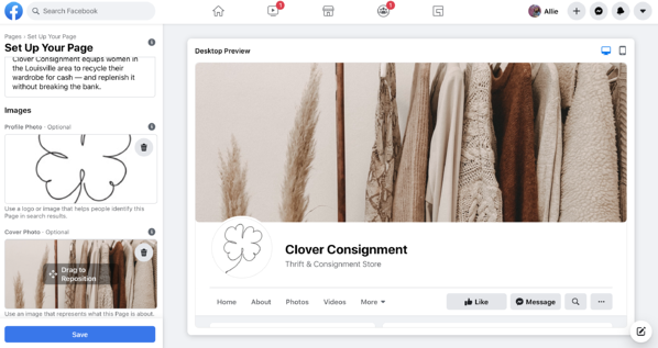 facebook business page add images