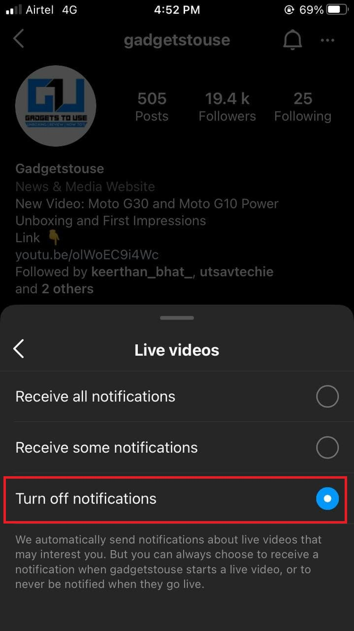 Stop Live Video Notifications for One Person on Instagram