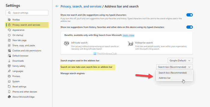 How to enable or disable search box on new tab page in Edge