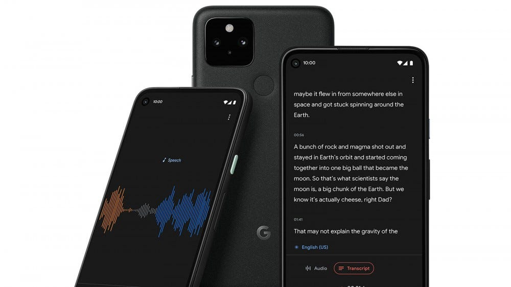 Three Pixel phones with audio recording apps open, and the words transcribed.