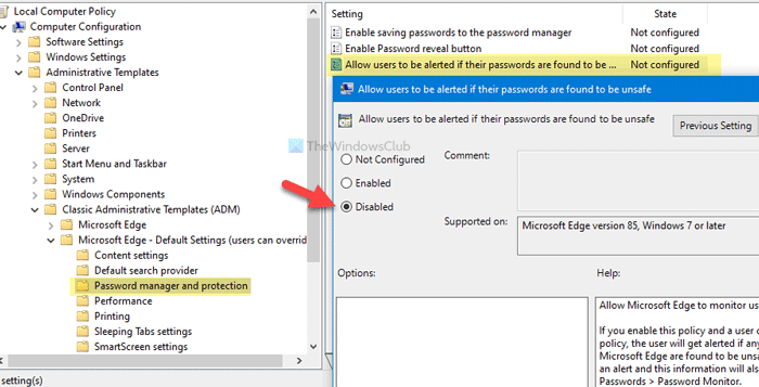 How to enable or disable Password Monitor in Edge