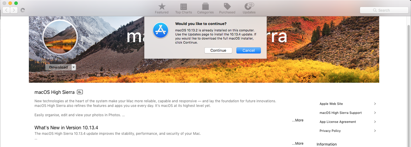 MacOS download from Mac App Store