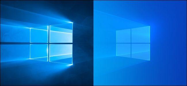 Windows 10's original dark and updated light desktop background