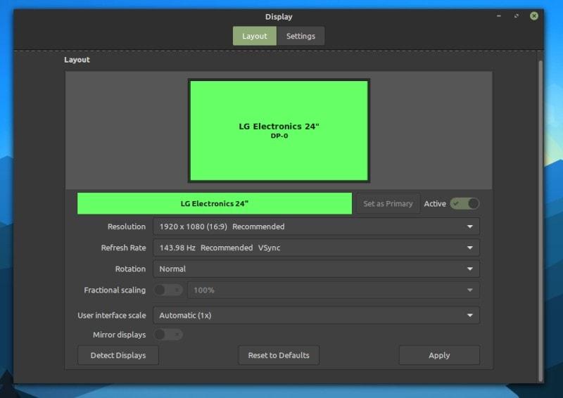 linux mint display settings