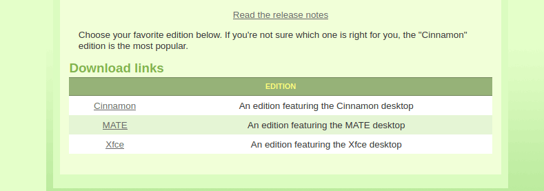 linux mint version options