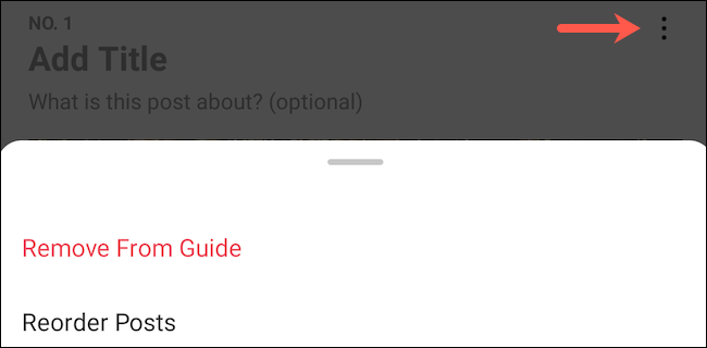Remove and reorder posts in an Instagram guide