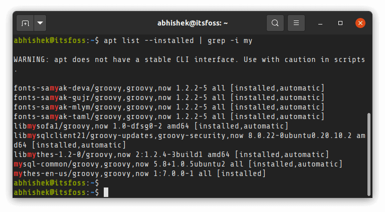 Search List Installed Apps Ubuntu