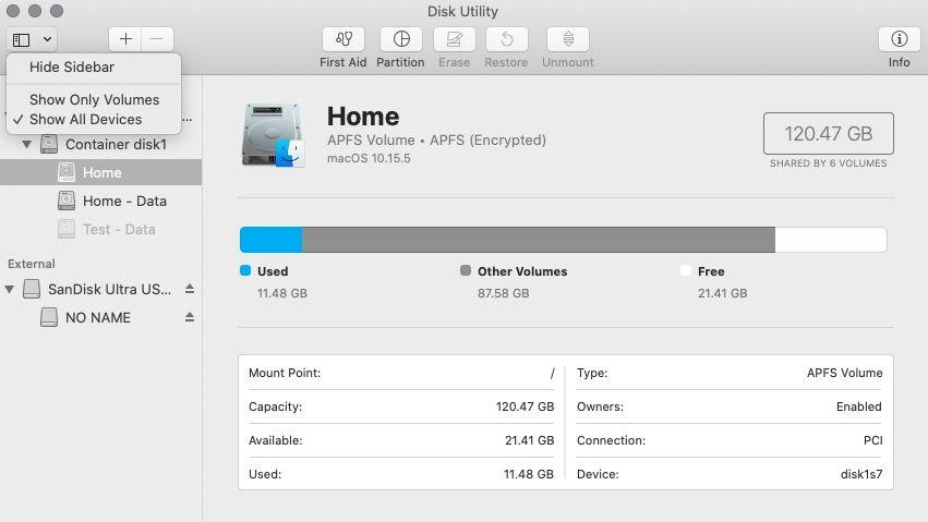 Show all Disk Utility