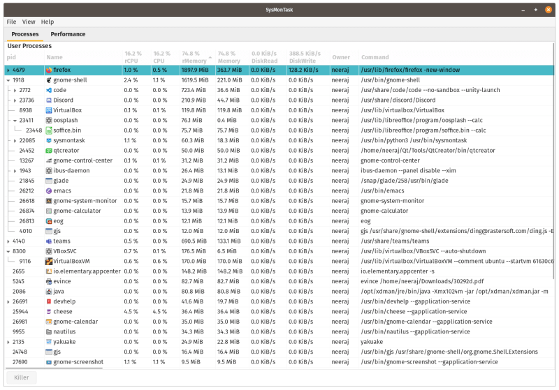 SysMonTask is a Windows like task manager in Linux