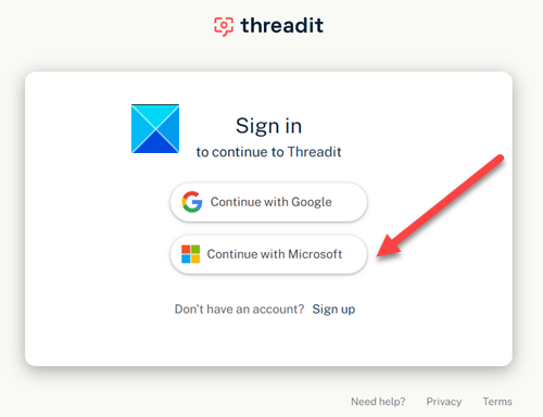 Threadit Microsoft Account