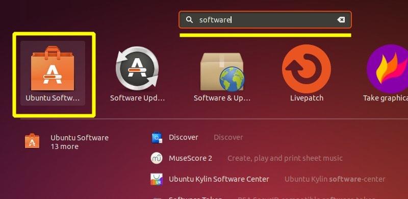 Ubuntu Software Applications Menu