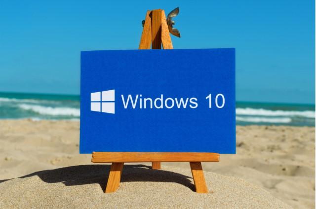Windows 10 logo on a beach