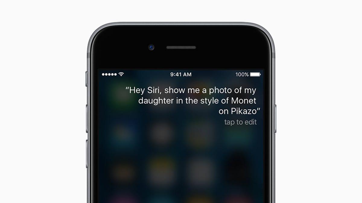 Siri open on an iPhone.