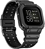 Image of amBand Compatible with Fitbit Versa 3 Strap/Fitbit Versa 2 Strap/Fitbit Versa Strap/Fitbit Versa Lite Strap,TPU Shockproof Band Fitbit Strap with Protective Case for Men - Black