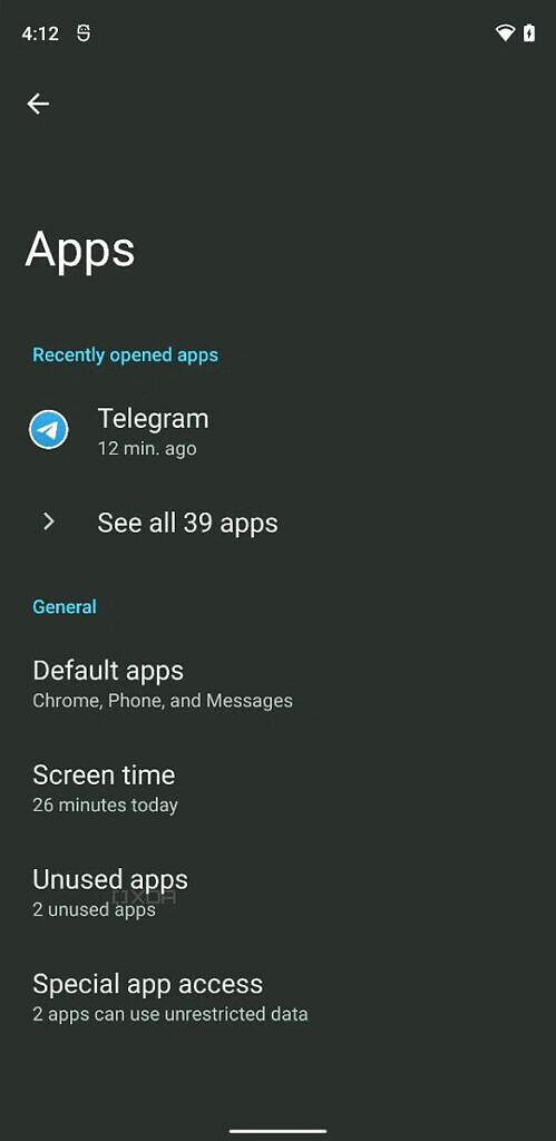 Android 12 unused apps settings 1