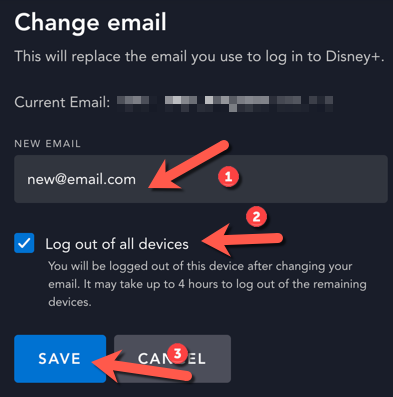 """Type a new account email in the box provided, and select the checkbox to log out of all other devices. Press """"Save"""" to confirm."""