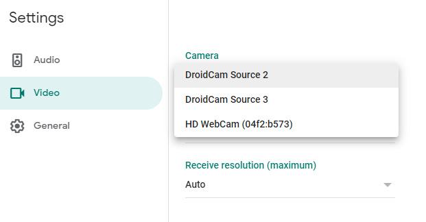 Selecting DroidCam video feed in Google Meet settings