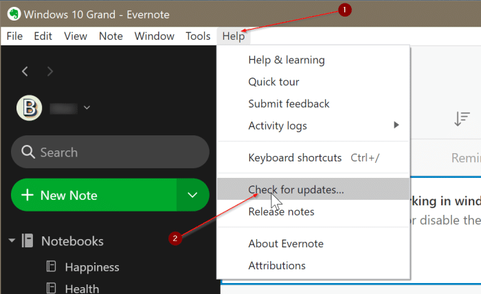 Evernote not opening or working in Windows 10 pic3