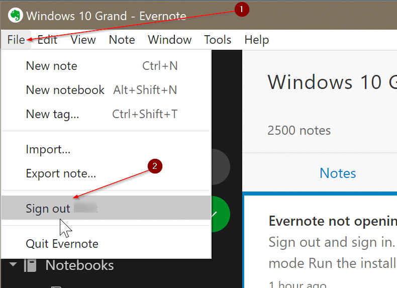 Evernote not opening or working in Windows 10 pic4