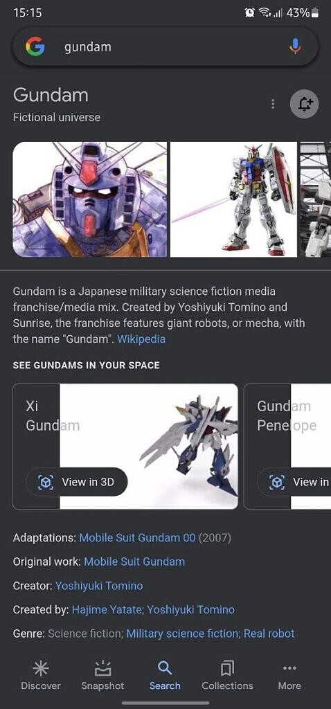 Gundam search results on Google Search with new View in 3D button