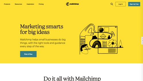 Home page of Mailchimp