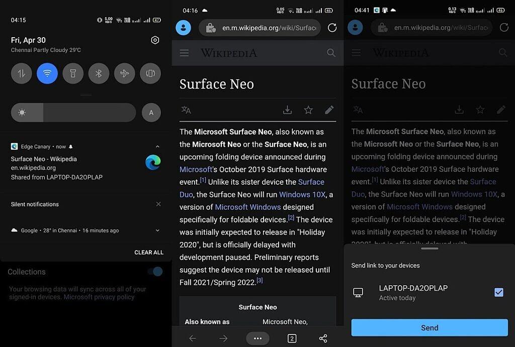 Microsoft Edge tab sharing on Android