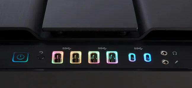 A PC case front panel with six USB ports.