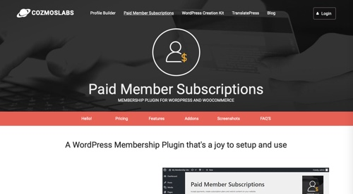 Home page of Paid Member Subscriptions