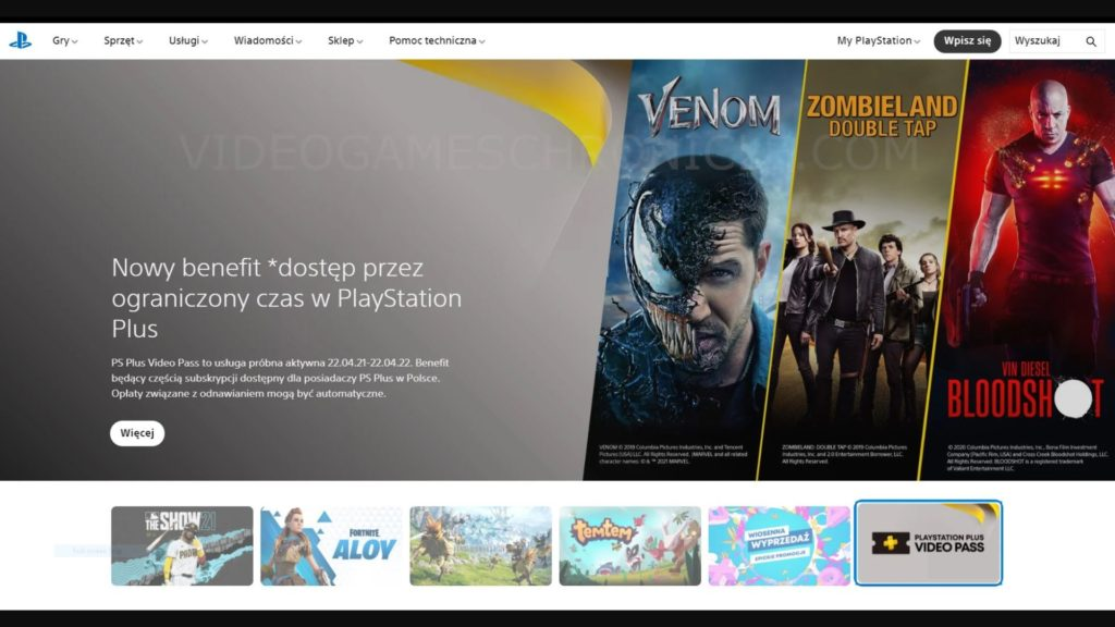 PlayStation PS Plus Video Pass Logo and Description on Sony website