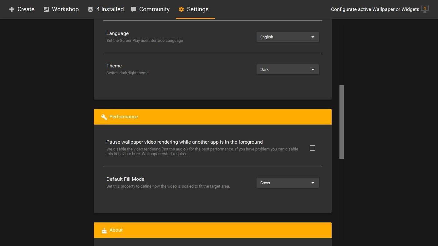 ScreenPlay settings