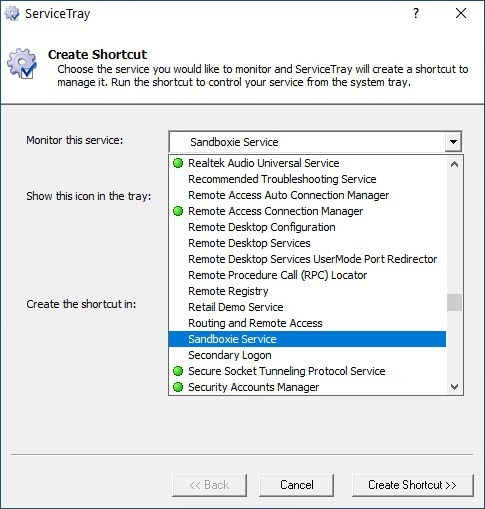 ServiceTray select a windows service