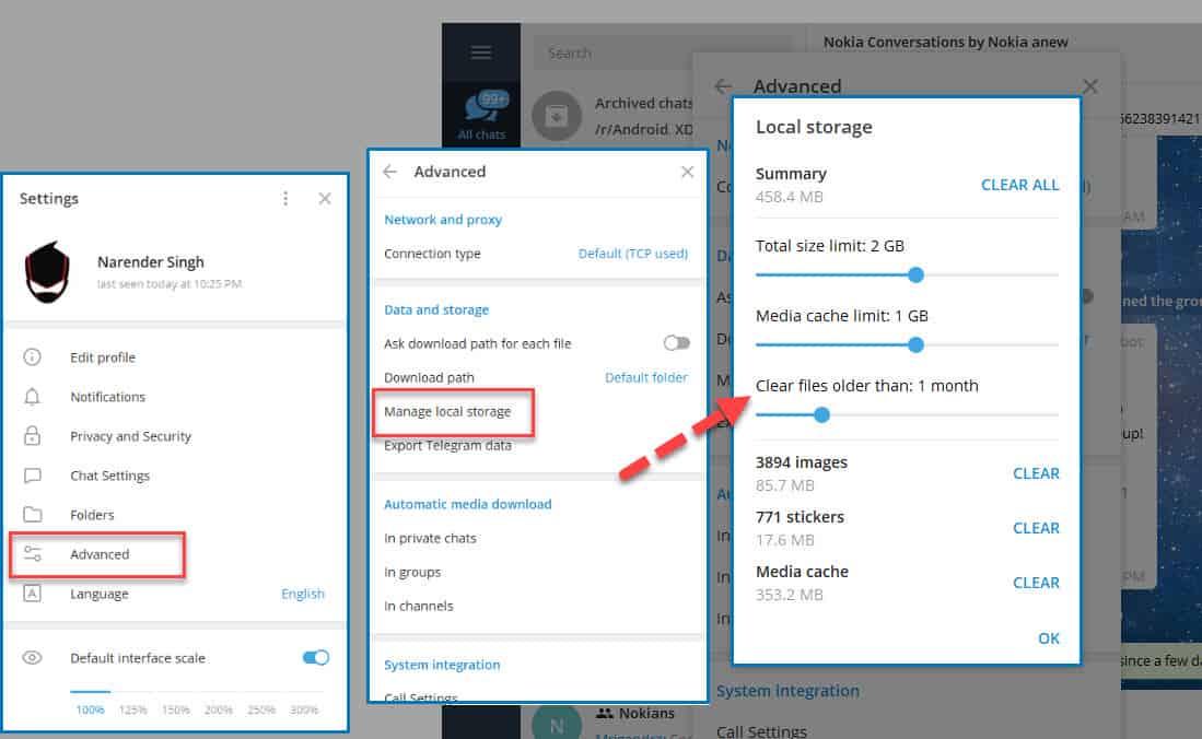 Telegram Desktop local storage options