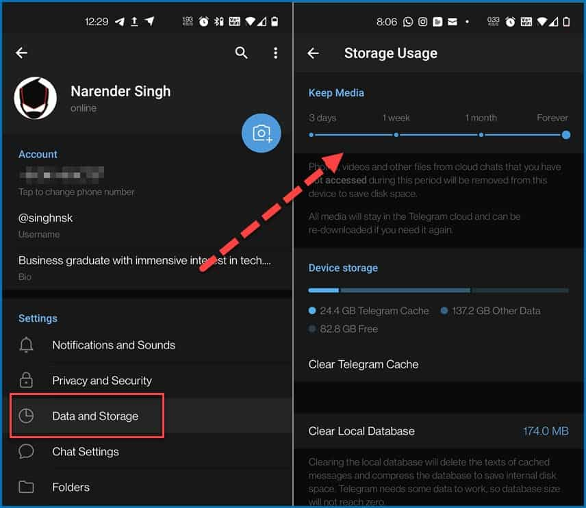 Manage storage usage on Telegram for Android