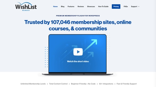 Home page of Wishlist Member