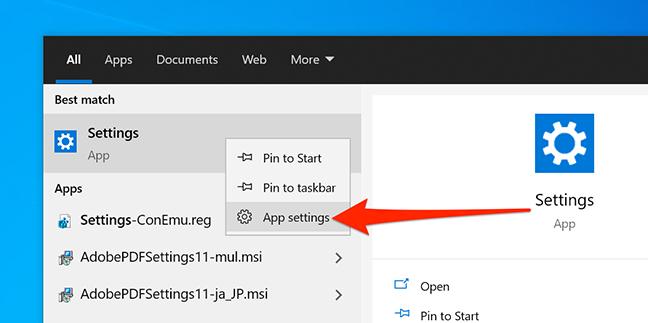 App settings option for the Settings app