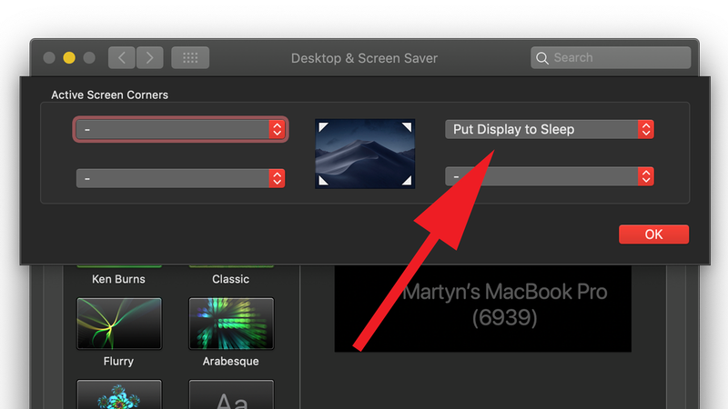 How to turn off Mac display without putting it to sleep: Hot Corner options