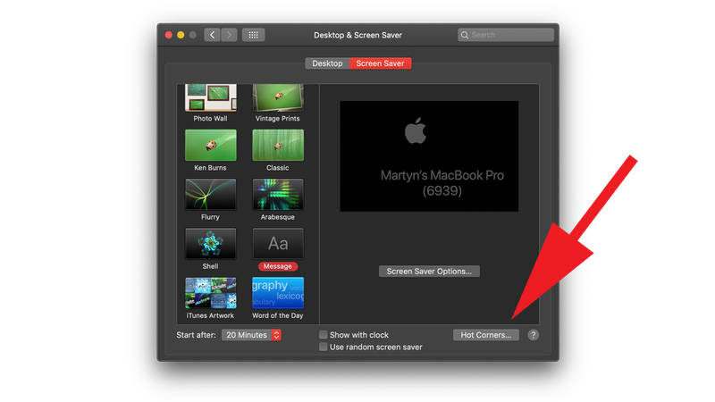 How to turn off Mac display without putting it to sleep: Hot Corners Setting