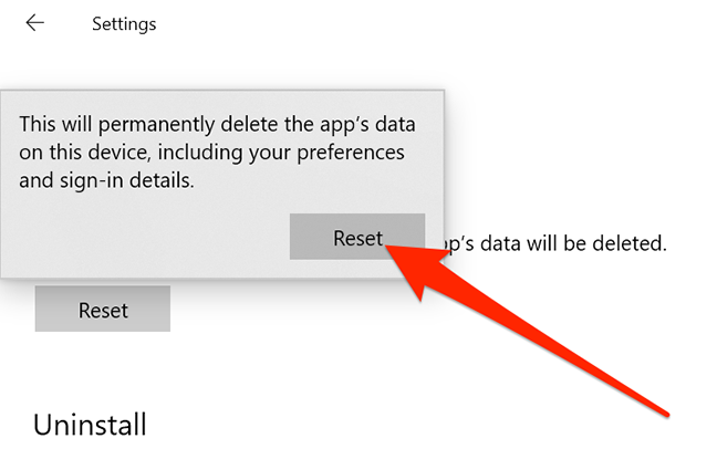 Reset prompt for the Settings app